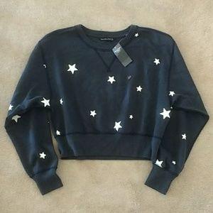 NWT Abercrombie Cropped Star Print Navy Sweatshirt